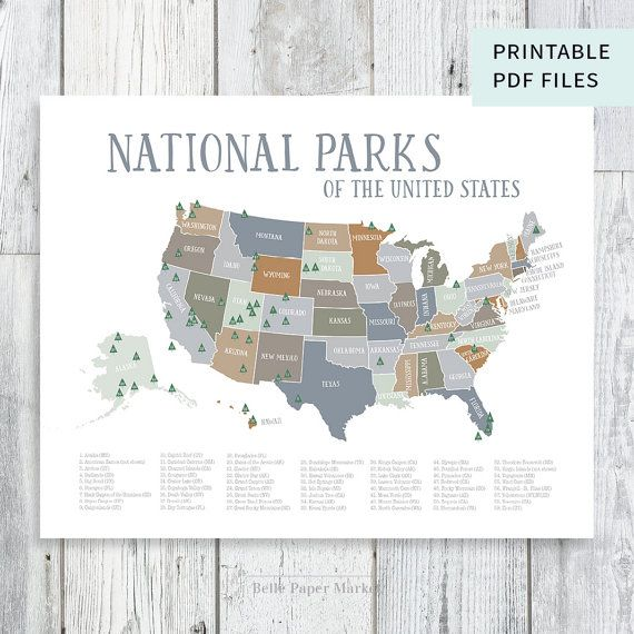 Us National Parks Map Natural Earthtones Explorer Nursery Wilderness Decor Kids Play Room