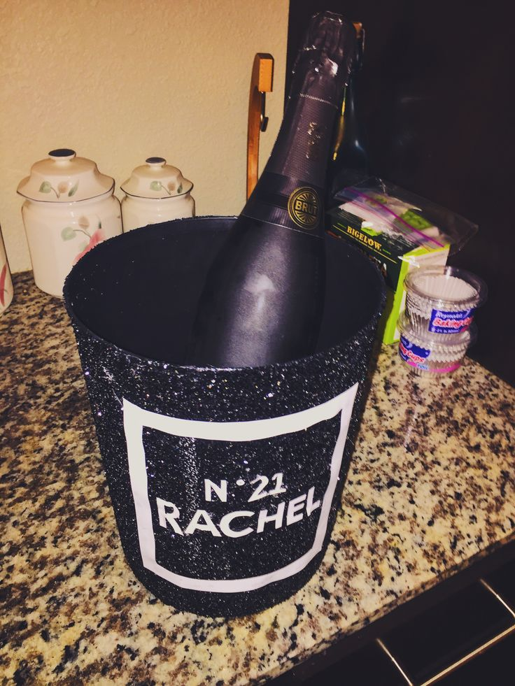 Crafting a Chanel themed puke bucket. TSTC.