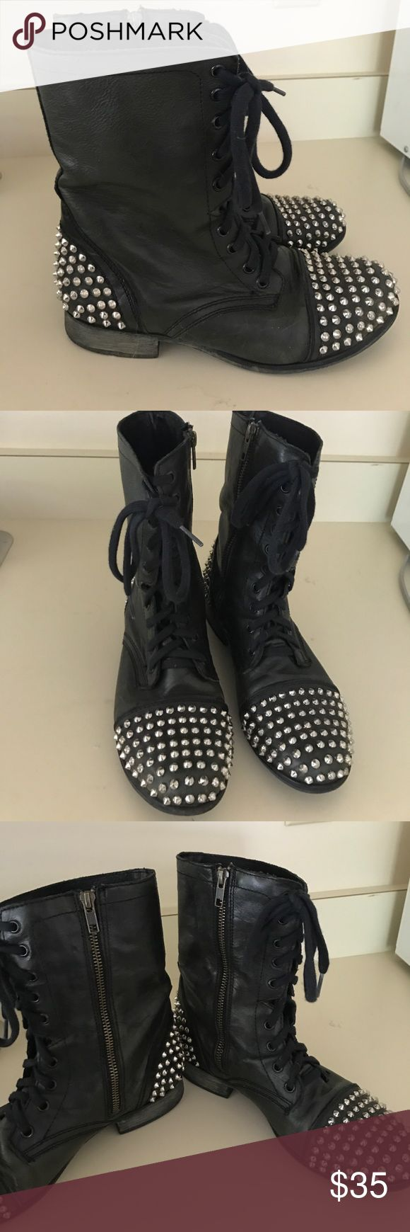 SteveMadden studded boots super cute and stylish black studded combat boots Steve Madden Shoes Combat & Moto Boots