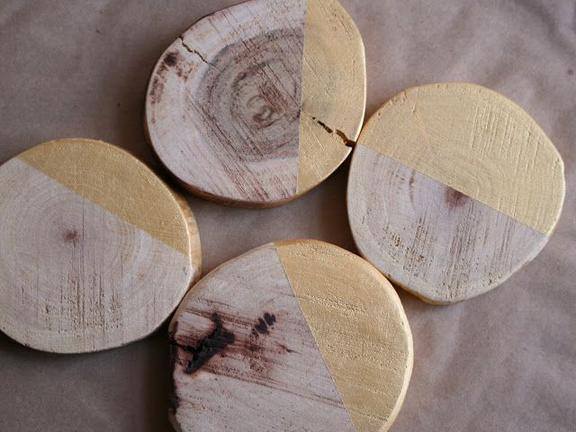 And your bird can sing: {diy} gold + wood coasters