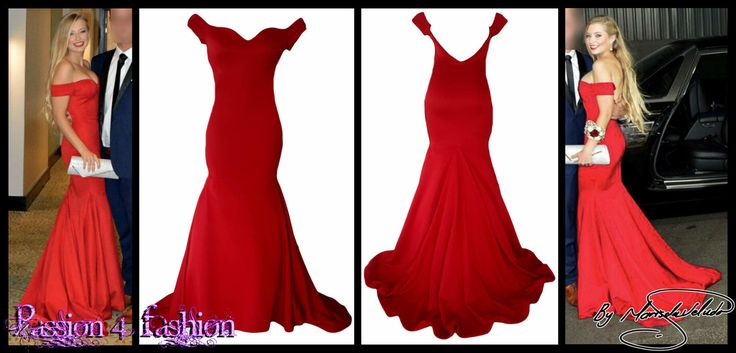 Red boobtube mermaid matric dance dress with a sweetheart neckline, off shoulder cap sleeves and a V open back and a train.