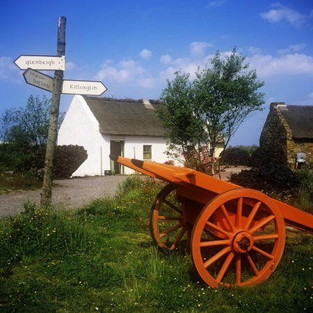 Cart On The Roadside Of A Village The Bog Village Ring Of Kerry Glenbeigh Republic Of Ireland Canvas Art - The Irish Image Collection Design Pics (24 x 24)
