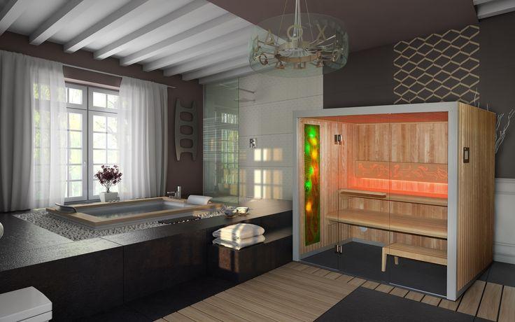 Sauna Comfort Line z panelem relaksacyjnym Fantazja #sauna #sauny #comfort