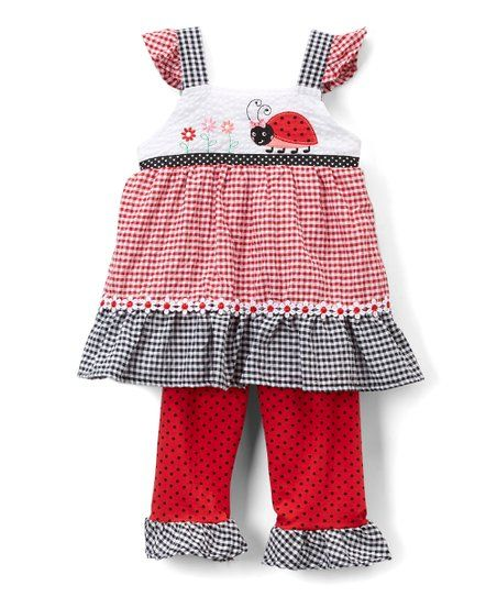 51a2672ae9a Nannette Kids Red Plaid Gingham Ladybug Tunic   Leggings - Infant   Toddler