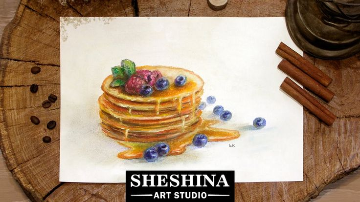How to draw pancakes with honey and blueberries with soft pastels 🎨 Food Illustration
