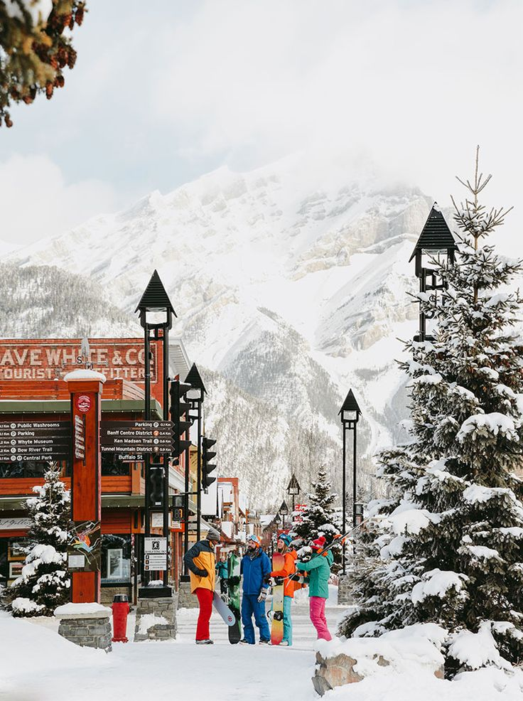 The town of Banff in Alberta, Canada Ski trip, Winter