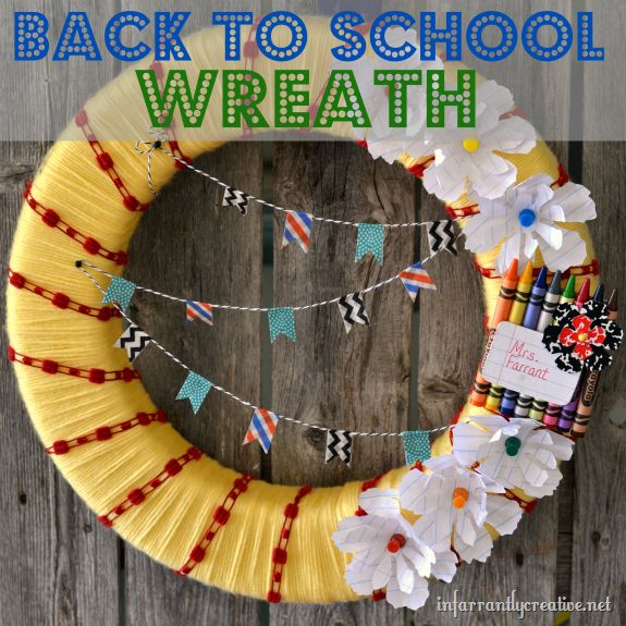 Back to school wreath made from school supplies.  Great teacher gift.: Wreaths Tutorials, Schools Colors, Name Tags, Names Tags, Classroom Door, Schools Supplies, School Wreaths, Back To Schools Wreaths, Great Teacher Gifts