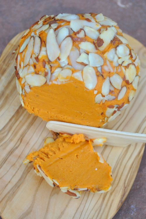 """kick ace extra sharp raw vegan holiday cheddar cheese ball - super decadent. also kind of time intensive. this is from the pin """"14 vegan cheeses that will make you forget about the real thing."""""""