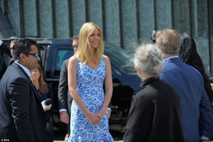 Trump's daughter, Ivanka, visited the Monument to the Ghetto Heroes in Warsaw on Thursday July 6 2017, What Ivanka is wearing, blue white dress, Poland