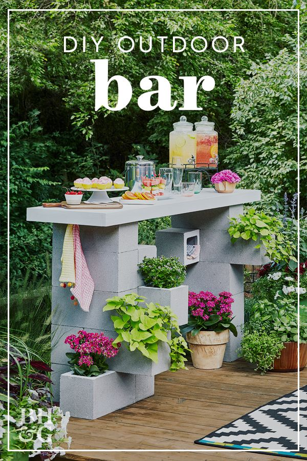 Build An Outdoor Bar Entirely From Concrete Blocks Backyard Landscaping Designs Cinder Block Garden Backyard