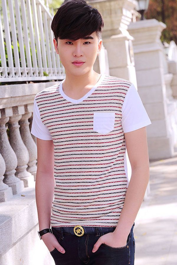 Quality cotton in a striped motif lends a nautical touch to this relaxed heart neck tee. The internal colored stripes dominate the front with a patched pockets detailed, and the back and sleeves are of solid color. Made by 95% cotton lend you much softness and healthy touch and the rest 5% spandex is just right for flexible stretch. #MansClothing #Style