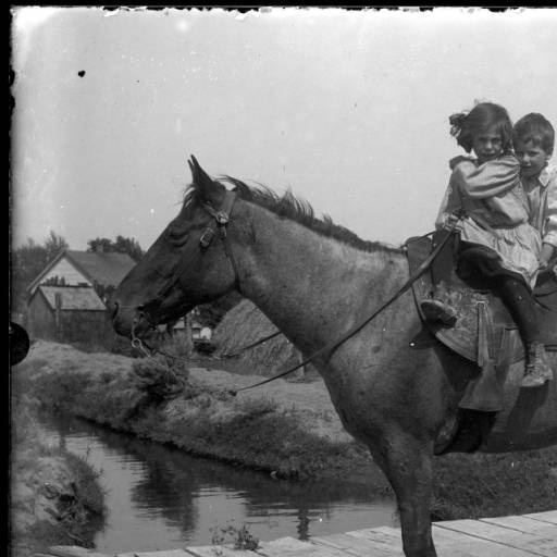 "Girl and boy on a horse. Jessie Palmer is in front with brother Lawrence sitting behind. Lawrence is barefoot. Jessie is wearing high-top lace up shoes. The children are riding sidesaddle on roan horse. The unshod horse is standing on a wooden bridge spanning the Kiona Irrigation District ditch. A haystack and buildings can be seen behind the horse. Written on envelope: ""Jessie and Lawrence Palmer 1908 #5""."