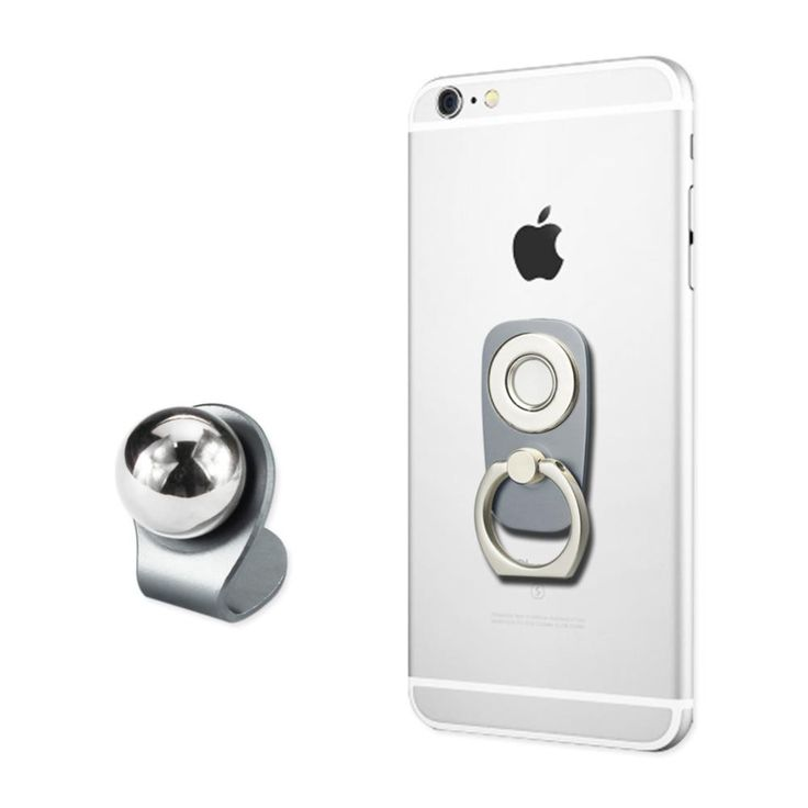Reiko UNIVERSAL 2-IN-1 MAGNETIC CAR MOUNT HOLDER WITH 360 DEGREE ROTATION FINGER RING GRIP IN GRAY