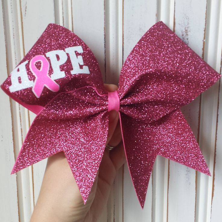 Hope breast cancer awareness bows made with pink, white and neon pink glitter. by BragAboutItCheerBows on Etsy