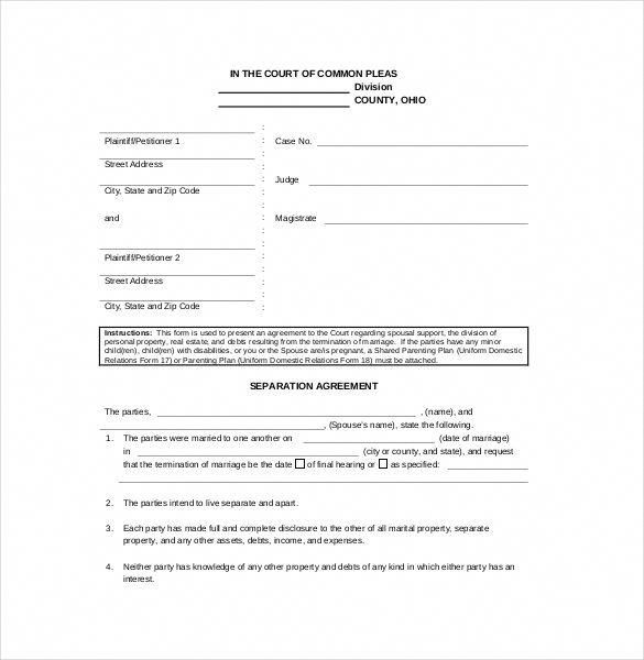 Separation Agreement Template With Images Separation Agreement
