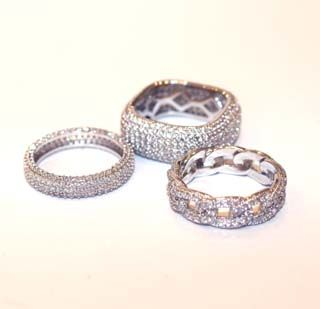 My Island Home - Diamante Rings - silver bands