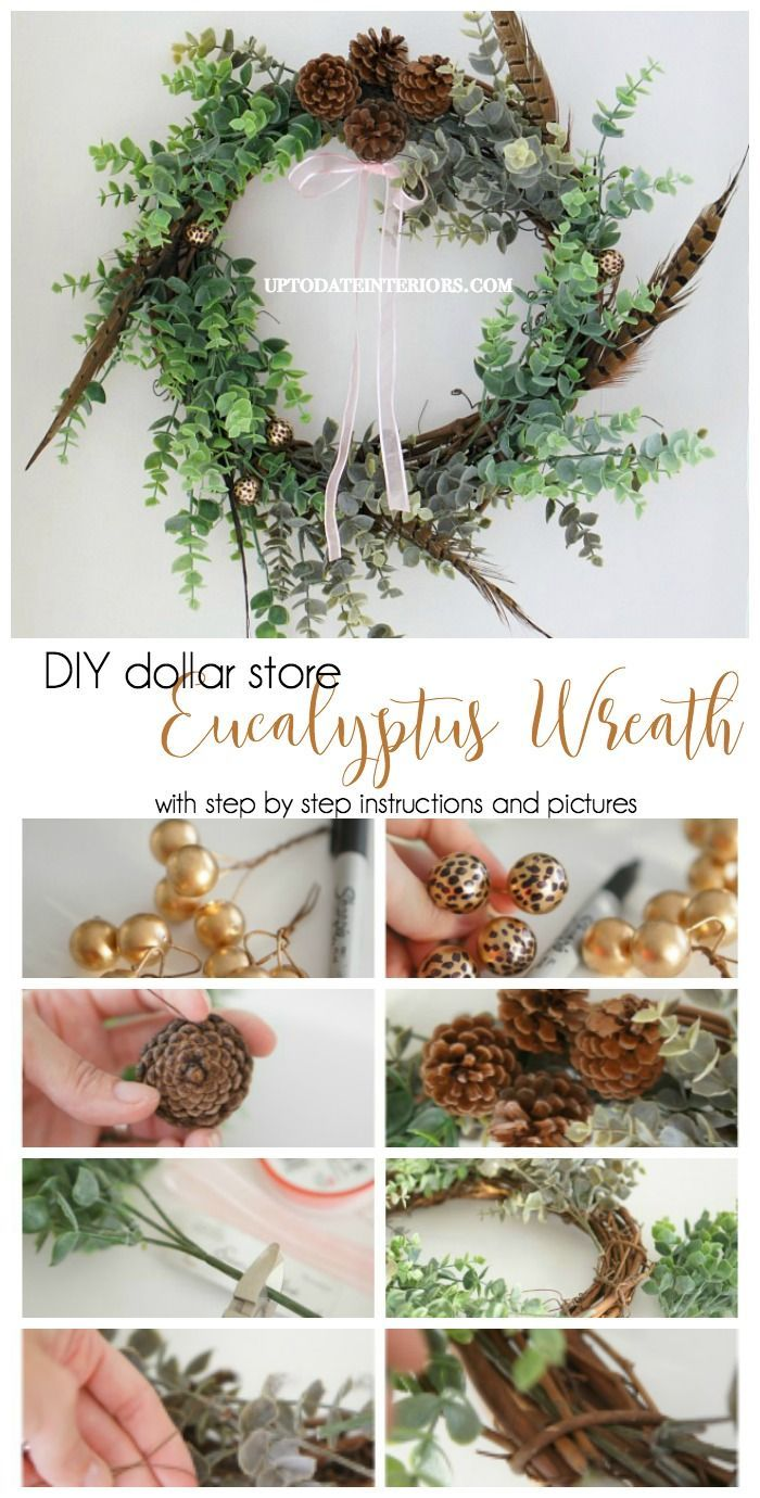 Create a pretty Eucalyptus wreath with supplies from the dollar store.  Easy to make and great for all seasons!