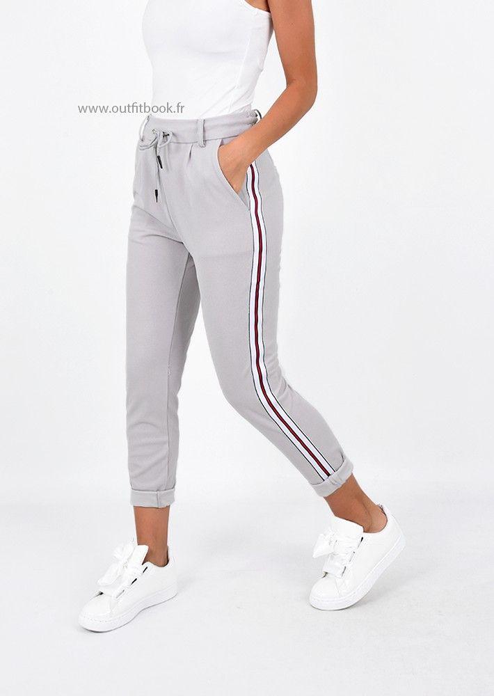 2402eec33e05e Pantalon gris longueur cheville avec bande latérale | Pantalons ...