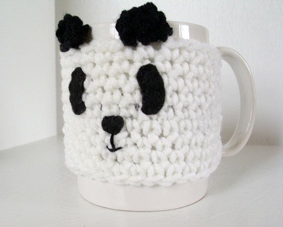 Coffee Cup Cozy Playful Panda Crochet Cup Cozy by JMcnallyDesigns