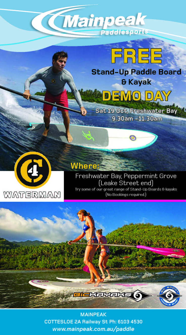 FREE stand up paddle board and kayak demo day.