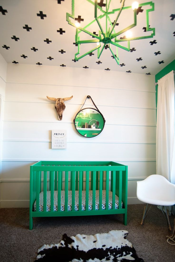 Captivating Portters Black, White And Green Nursery Pad