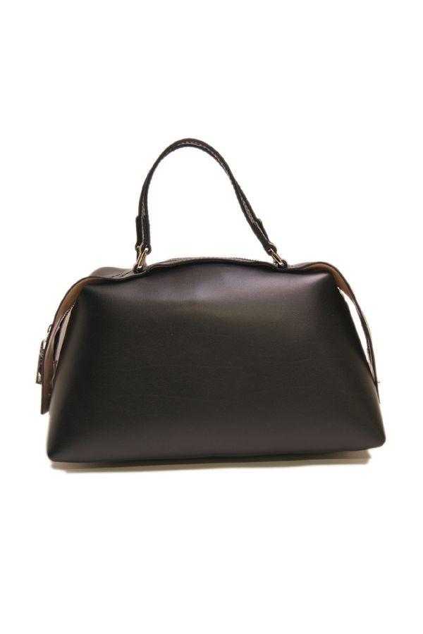 ジャンニキアリーニ 牛革スムース裏コーティングファスナーハンドバッグ