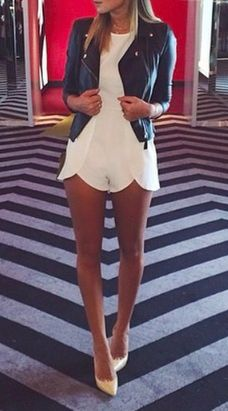 leather jacket + white romper; obsessed with the scalloped edges on the romper. Epitome of soft and hard.