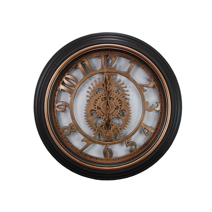 Delightful Gears 20 In. Wall Clock In Bronze Finish