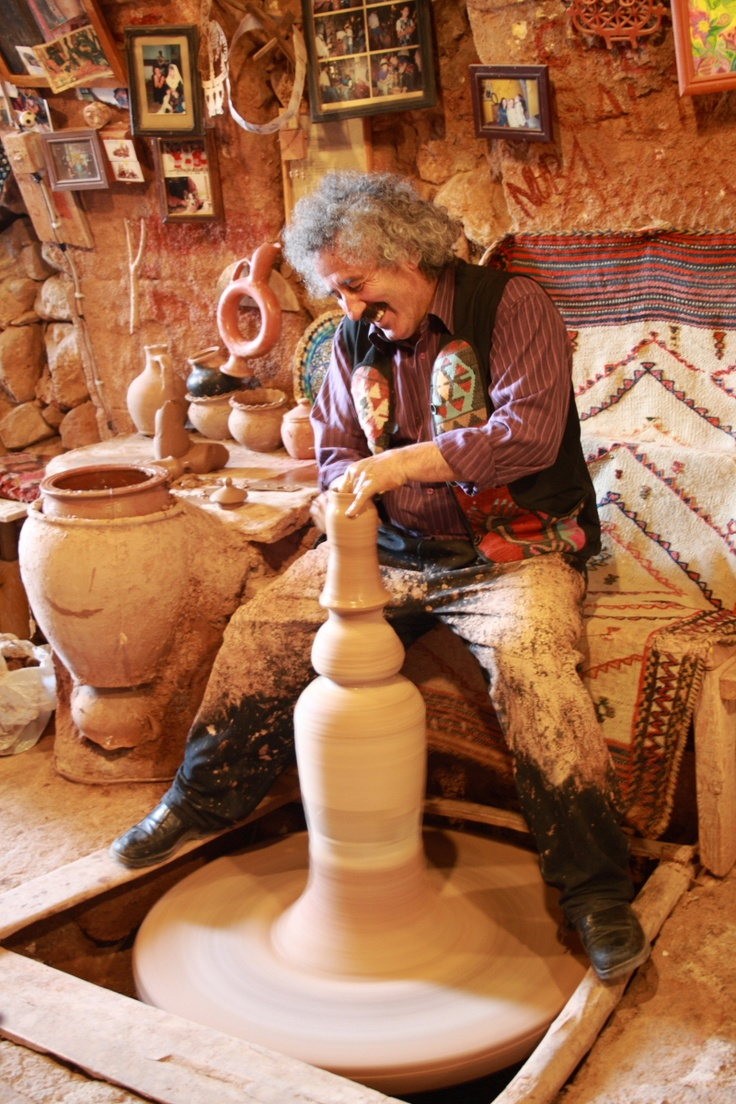 In Avanos (Near Cappadocia), visit the workshop of world-famous master potter, Chez Galip, who has preserved the ancient way of using the potter's wheel.