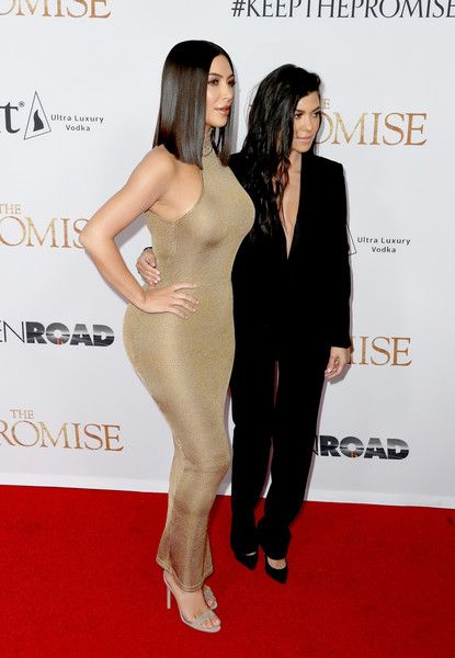"""Kourtney Kardashian Photos Photos - TV personalities Kim Kardashian West (L) and Kourtney Kardashian attend the premiere of Open Road Films' """"The Promise"""" at TCL Chinese Theatre on April 12, 2017 in Hollywood, California. - Premiere of Open Road Films' 'The Promise' - Arrivals"""