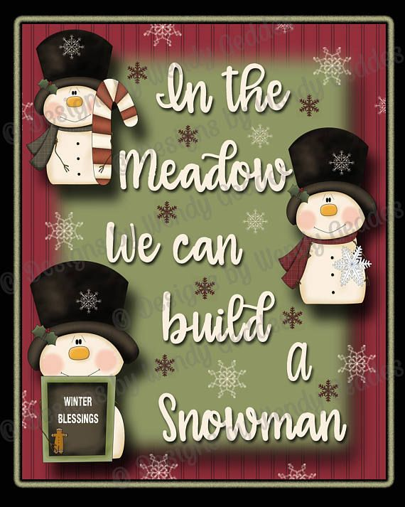 Printable - In the meadow we can build a snowman 8x10 Graphic art print - printable wall art