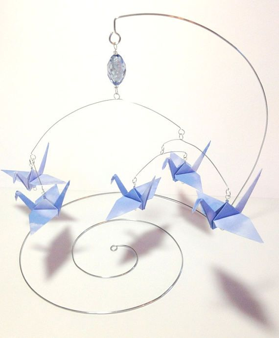 RESERVED for Susan - - Origami Crane Mobile, Sky Blue & Clouds, Desk Top Mobile, Mobiles for Babies, Mobiles for Adults, Zen Office Decor