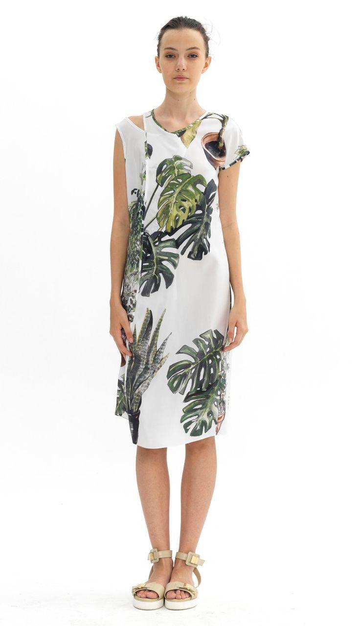 asymmetric silk dress