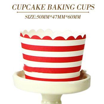 Красный белый полосой бумаги торт чашки кекс лайнеры украшения сдобы чехол шоколад выпекать выпечки инструменты для торта