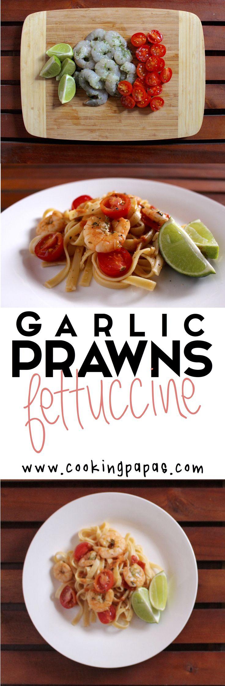 Pastas • 15 min para hacer • 1-2 porciones  Ingredientes  Pasta tipo Fettuccine • Tomates Cherry • Camarones 5-6 c/p • Ajo • Sal • Pimienta • Perejil • 1 limón • Aceite de oliva • Albahaca fresca • Media cucharada de pasta de tomate.