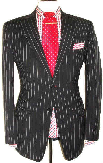 Versace Suit (Men's Pre-owned Navy Chalkstripe Single Breasted Luxury Wool Suit)