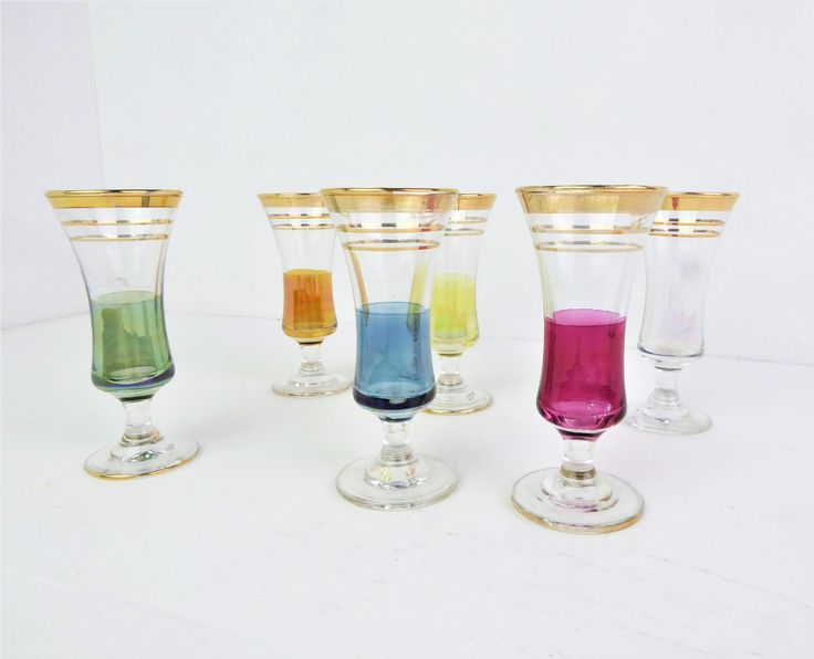 Sherry glasses, liqueur glasses, mid century, set of six, iridescent, multi-coloured / harlequin set, 40 ml, cordial glasses by BlindDogVintage on Etsy