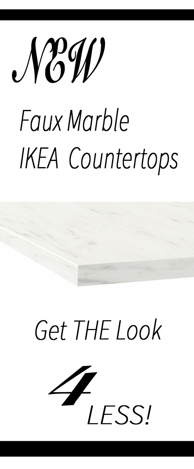 New inexpensive faux marble laminate countertops at Ikea! I wish these were around 5 years ago when I was re-doing my kitchen! Come learn more about them.