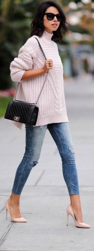 Blush + denim.