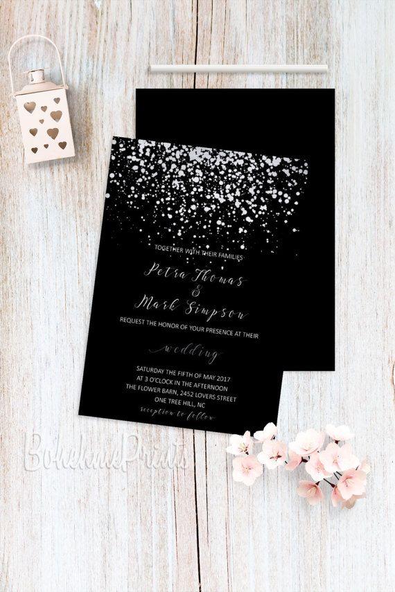 Silver Wedding Invitations Black Invitation Printable Invite Elegant And Invites