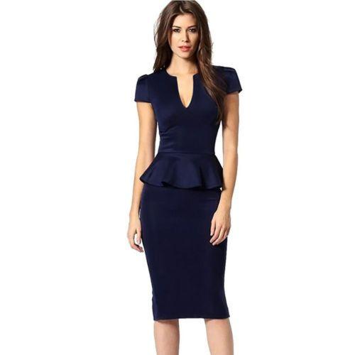 Elegant-Office-Pencil-Dress-Women-Work-Wear-Short-Sleeve-Bodycon-Patchwork-Dress
