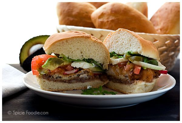 Mexican, tortas de milanesa, pork cutlet sandwiches @SpicieFoodie