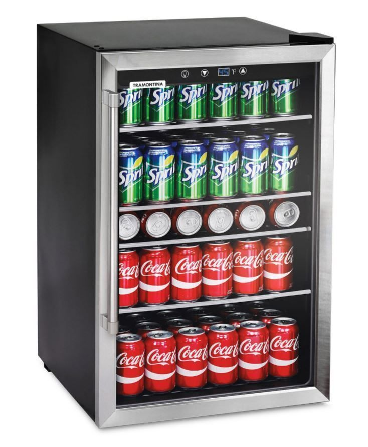 Small Refrigerator Glass Door Beverage Cooler Home Bar Game Room Mini Fridge 126 Tramontina Beverage Center Beverage Refrigerator Glass Door Refrigerator