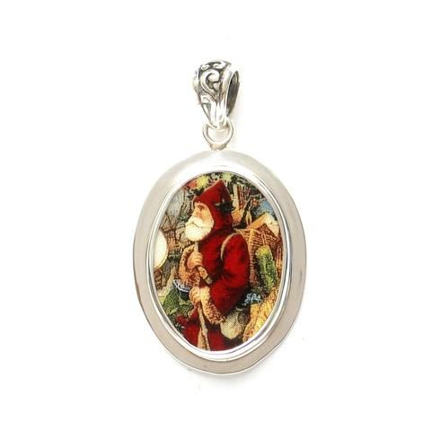 Broken China Jewelry Victorian Christmas Santa Profile Sterling Oval Pendant - Vintage Belle Broken China Jewelry
