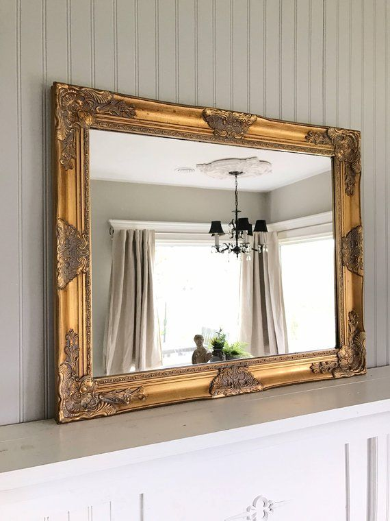 Gold Shabby Chic Mirror Vintage Farmhouse Mirror Wall Hanging