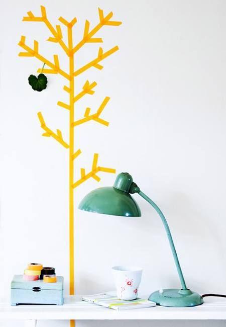 Washi tape in de vorm van een boom.© Eenig Wonen