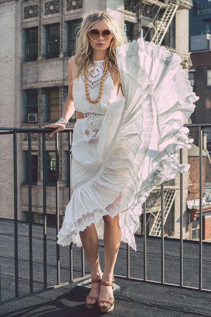 Spell Boho Bella Skirt in White | Nic del Mar