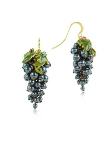 Les Nereides Fruits d'Automne - Black Grape Earrings