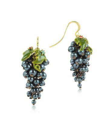 Les Nereides Fruits d'Automne - Black Grape Earrings