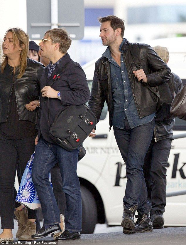 kittyinva:  R. A. of the Day: Richard Armitage and Martin Freeman at LAX. A favorite candid shot!
